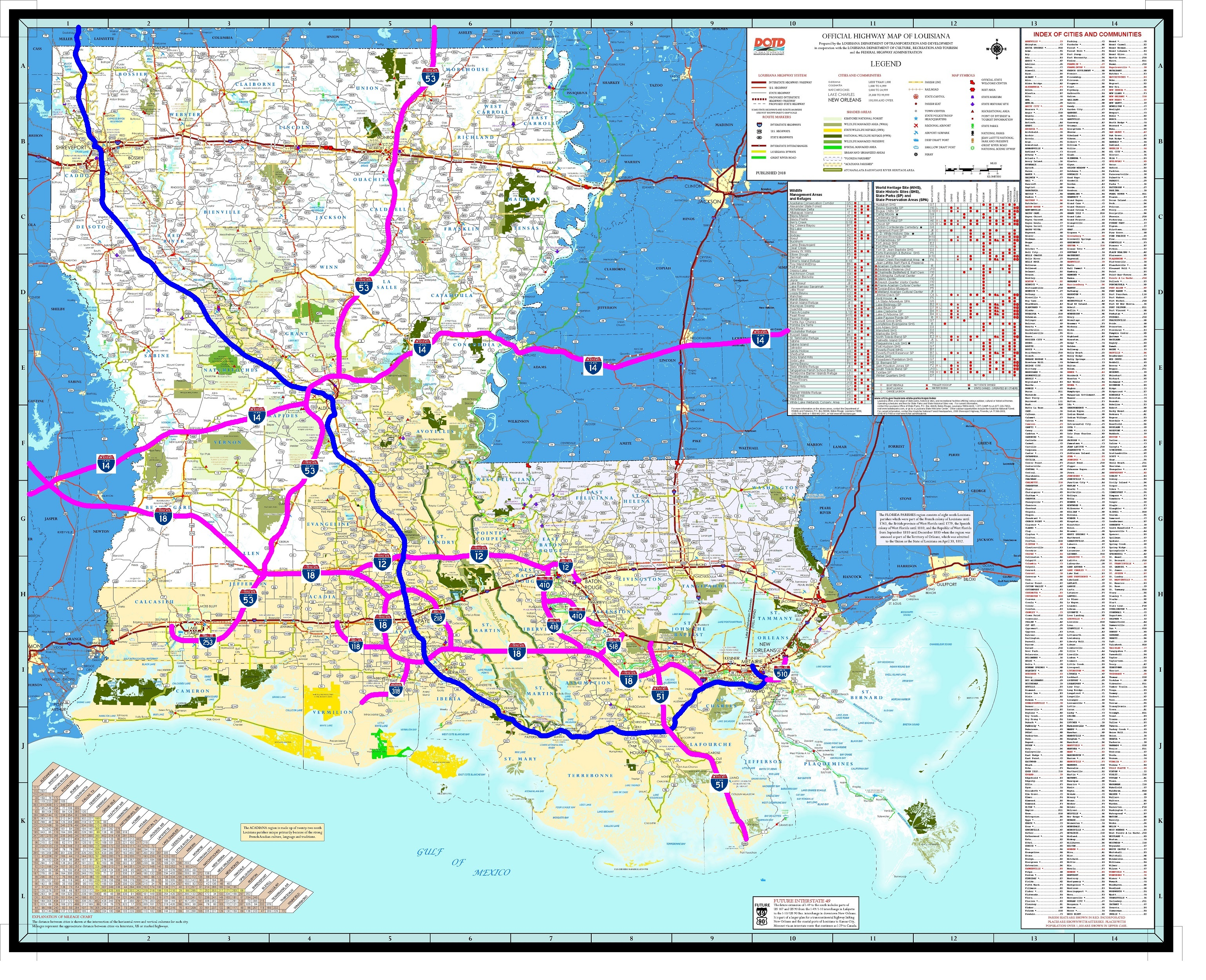 Interstate Map Of Louisiana.Acadian Xpressway System